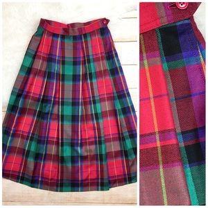 Vtg Lands End wool silk plaid skirt colorful XS